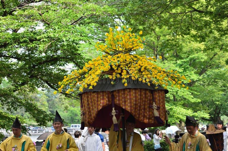 Le défilé du festival de Kyoto Aoi, Japon images stock