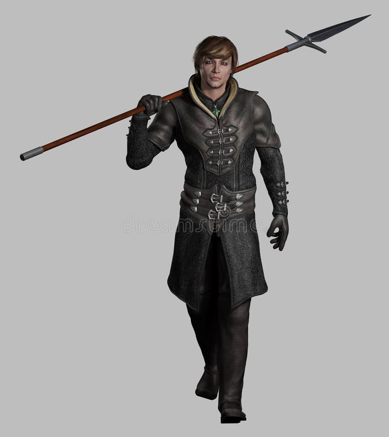 Homme armé d'une lance médiéval ou d'imagination illustration stock