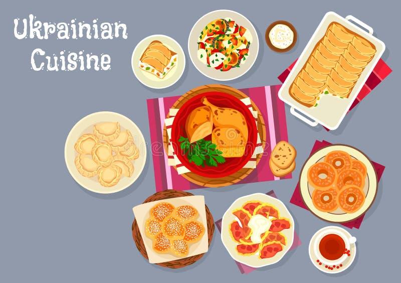 Le déjeuner traditionnel de cuisine ukrainienne bombe l'icône illustration de vecteur