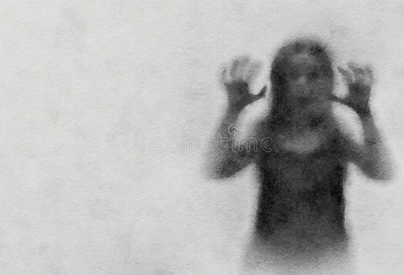 Le démon noir de silhouette hante des femmes feignant Logiciel de filtre pour convertir une aquarelle illustration stock