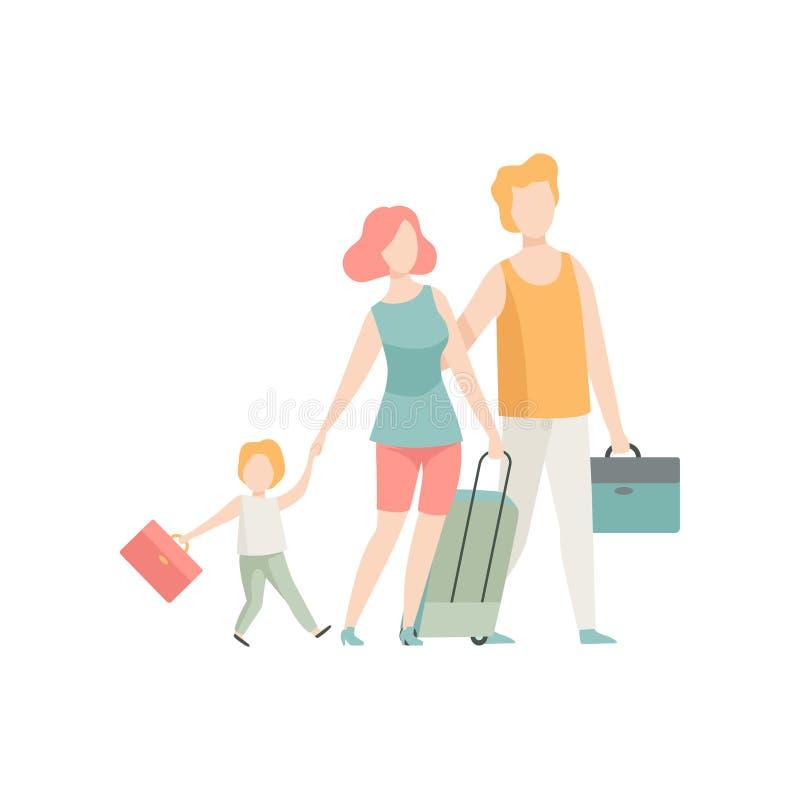 Le déplacement, le père, la mère et le fils de famille marchant avec des valises dirigent l'illustration illustration stock