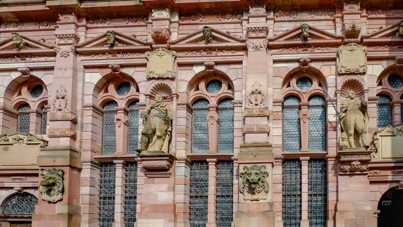 Le détail de façade du castlee d'Heidelberg à Heidelberg, Allemagne photos libres de droits