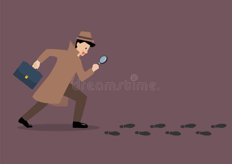 Le détective étudient suit des empreintes de pas avec le gl de agrandissement illustration stock