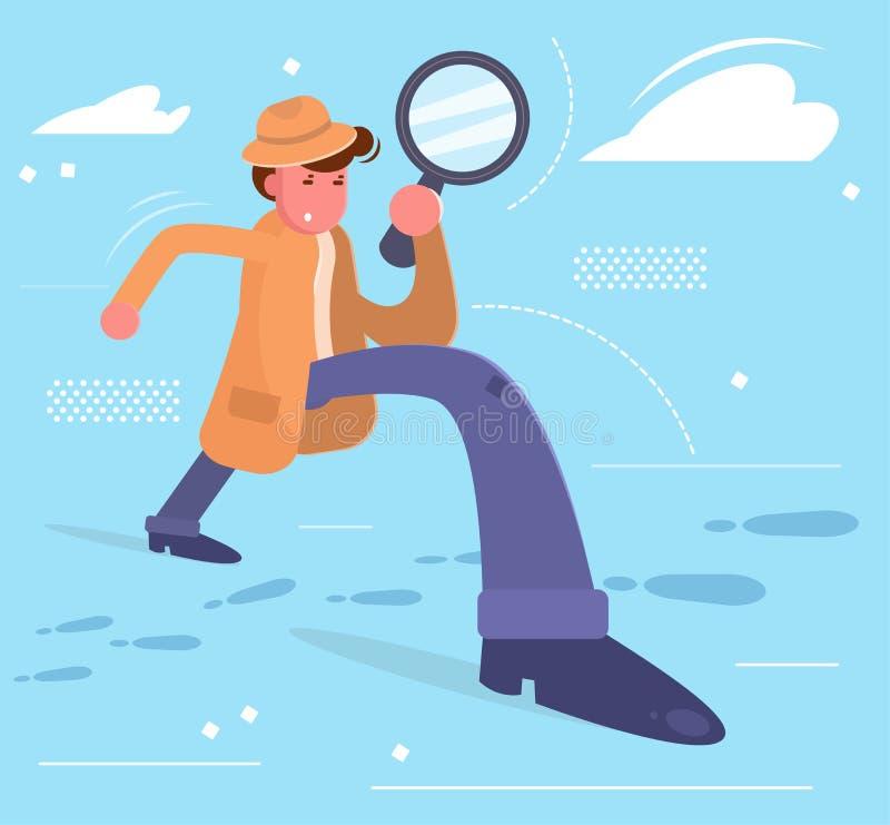 Le détective regarde par une loupe sur les voies illustration de vecteur