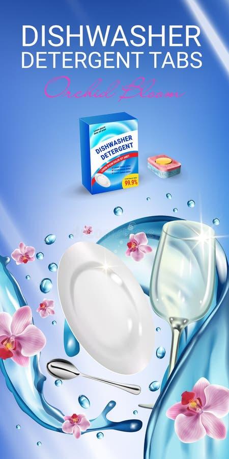 Le détergent de lave-vaisselle de parfum d'orchidée tabule des annonces Illustration réaliste de vecteur avec des plats en éclabo illustration de vecteur
