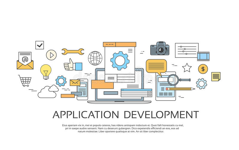 Le développement d'applications créent la collection de programmation d'icône de codes de site de conception illustration de vecteur