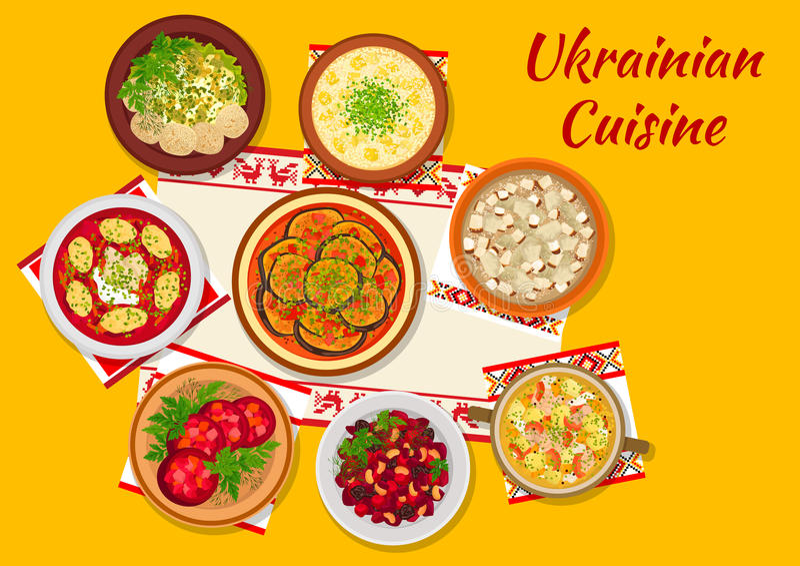 Le dîner national de cuisine ukrainienne bombe le signe illustration libre de droits