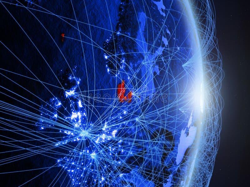 Le Danemark sur la terre numérique bleue bleue images libres de droits