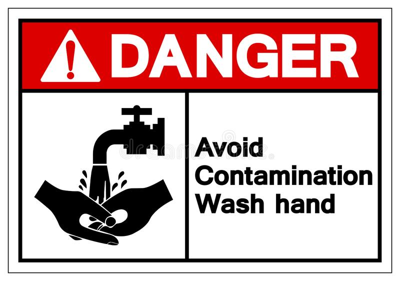 Le danger évitent le signe de symbole de main de lavage de contamination, l'illustration de vecteur, isolat sur le label blanc de illustration stock
