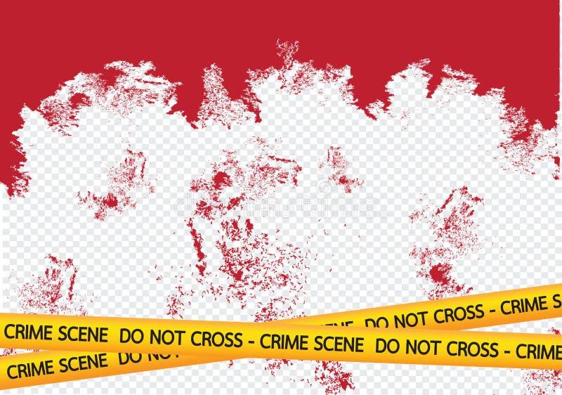 Le danger de scène du crime attache du ruban adhésif à l'illustration illustration de vecteur