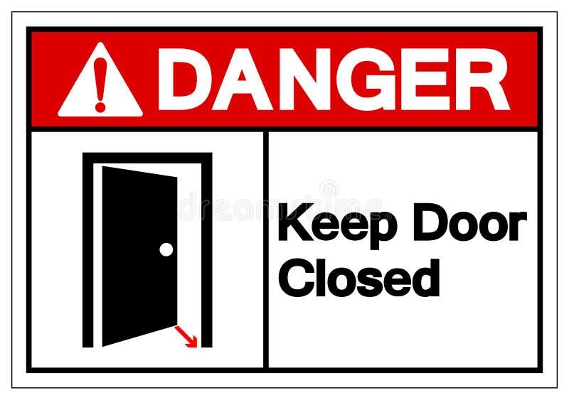 Le danger gardent le signe fermé de symbole de porte, l'illustration de vecteur, isolat sur le label blanc de fond EPS10 illustration de vecteur