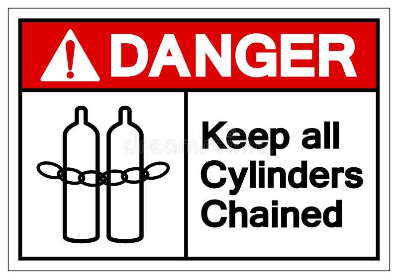 Le danger gardent tout le signe de symbole enchaîné par cylindres, l'illustration de vecteur, isolat sur le label blanc de fond illustration stock