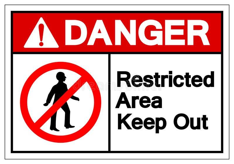 Le danger a limité le secteur empêchent d'entrer le signe de symbole, l'illustration de vecteur, isolat sur le label blanc de f illustration libre de droits