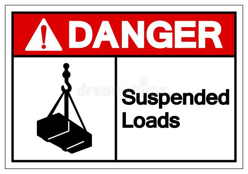 Le danger suspendu charge le signe de symbole, illustration de vecteur, d'isolement sur le label blanc de fond EPS10 illustration de vecteur
