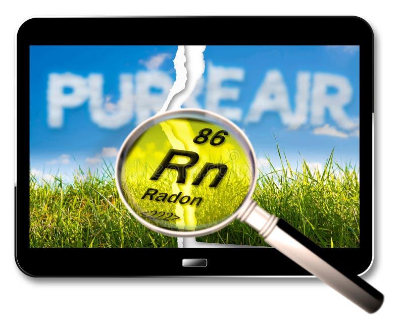 Le dangereux radon radioactif sous le sol - image de concept avec rendu 3D d'une tablette numérique et tableau périodique de illustration stock