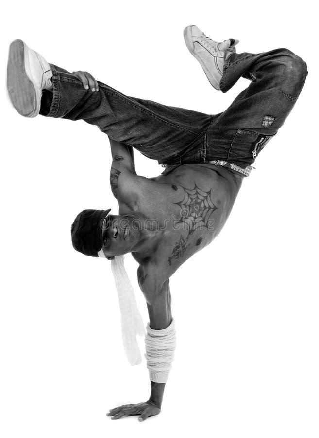 Le danseur d'houblon de gratte-cul freezed ses mouvements photographie stock