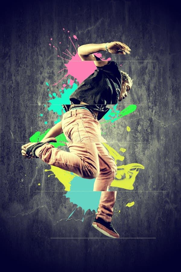 Le danseur dans le rétro type avec éclabousse image libre de droits
