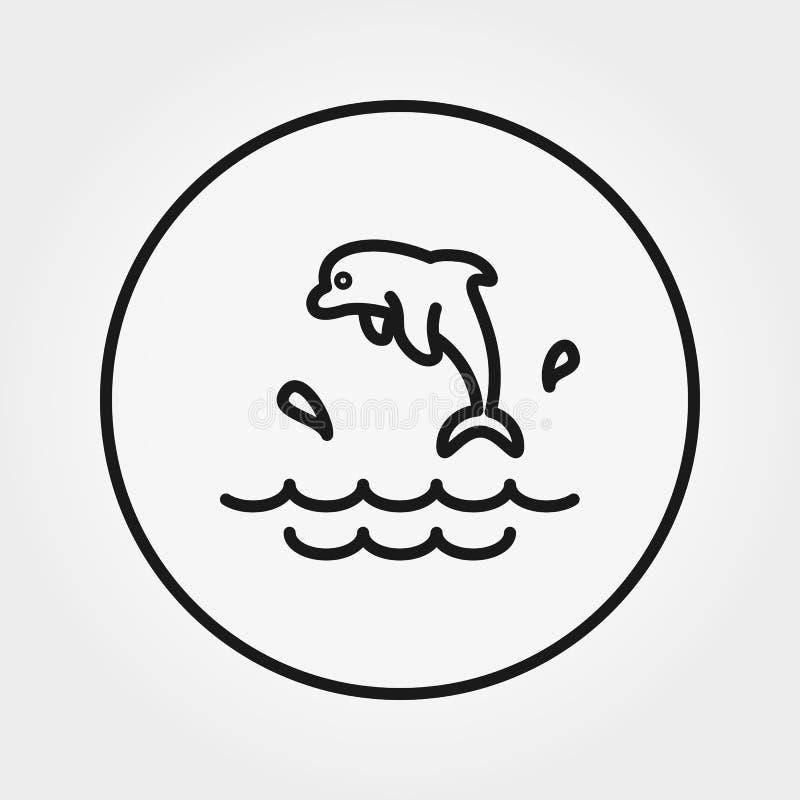 Le dauphin éclabousse graphisme Vecteur Ligne mince Editable illustration libre de droits