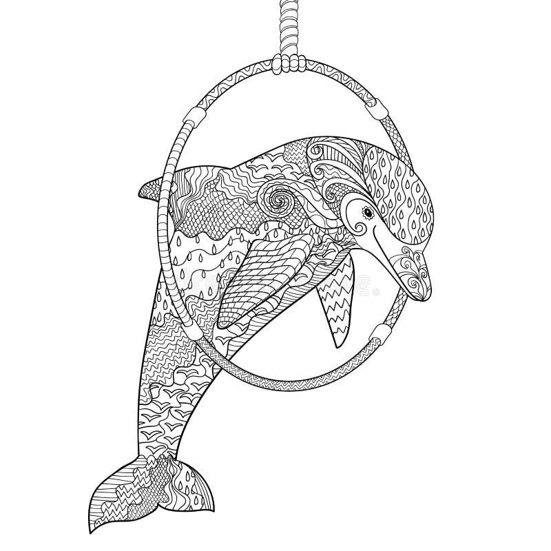 Le dauphin sautant par un anneau dans le Dolphinarium illustration stock