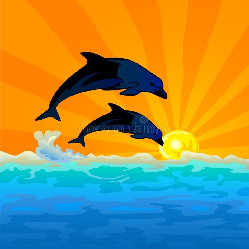 Le dauphin sautent avec le fond de coucher du soleil illustration de vecteur