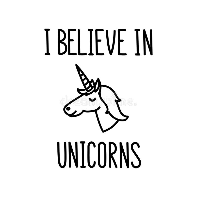 Le ` de citation que je crois au main-dessin de ` de licornes d'à l'encre noire illustration stock