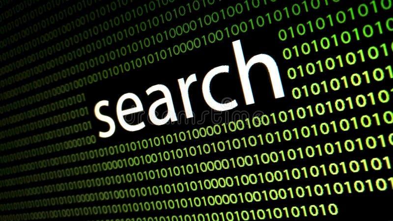 Le ` de recherche de ` de mot sur l'écran d'affichage à cristaux liquides illustration stock