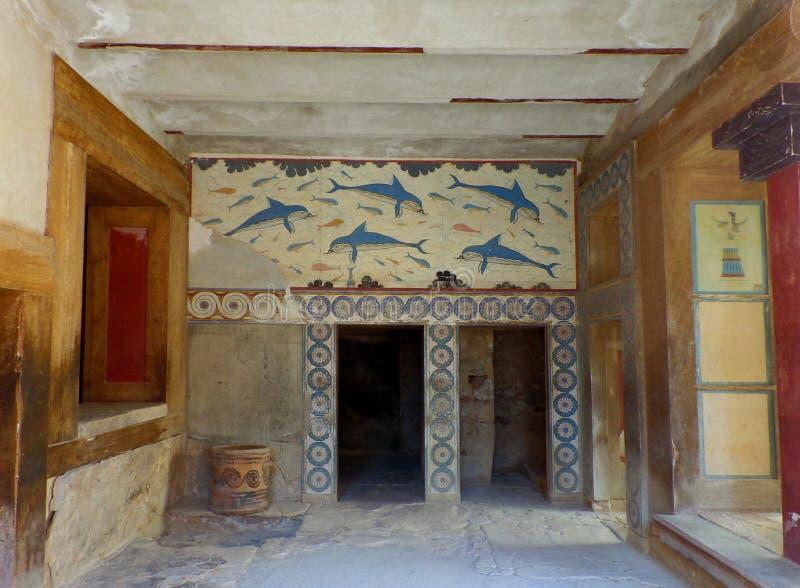 Le ` de reine s Megaron dans le Knossos antique, site archéologique sur l'île de Crète photos stock