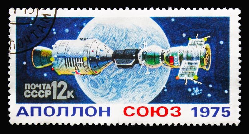 Le ` de ` de Soyuz de ` et d'Apollo de ` a lié ensemble, serie de vol spatial, vers 1975 photos stock