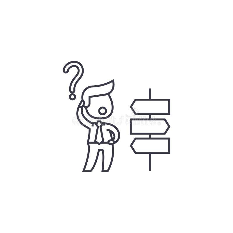 Le decisioni strategiche vector la linea l'icona, il segno, illustrazione su fondo, colpi editabili royalty illustrazione gratis