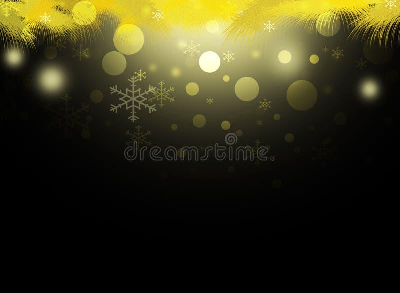 Le decorazioni della neve dell'oro del nero di giallo dei cerchi di natale del fondo offuscano il nuovo anno dell'illustrazione royalty illustrazione gratis