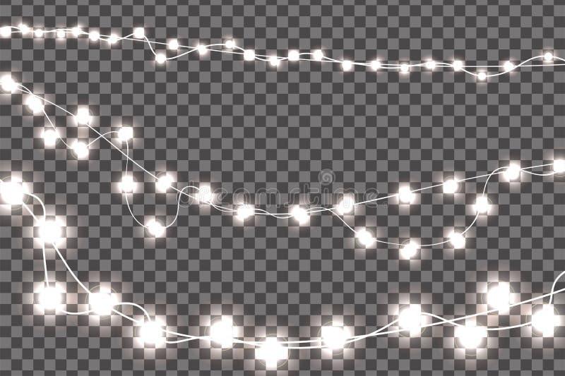 Le decorazioni realistiche bianche delle luci di Natale hanno messo isolato su fondo trasparente royalty illustrazione gratis