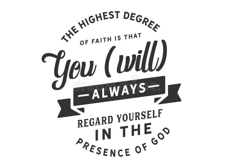 Le degré le plus élevé de logo de foi illustration stock