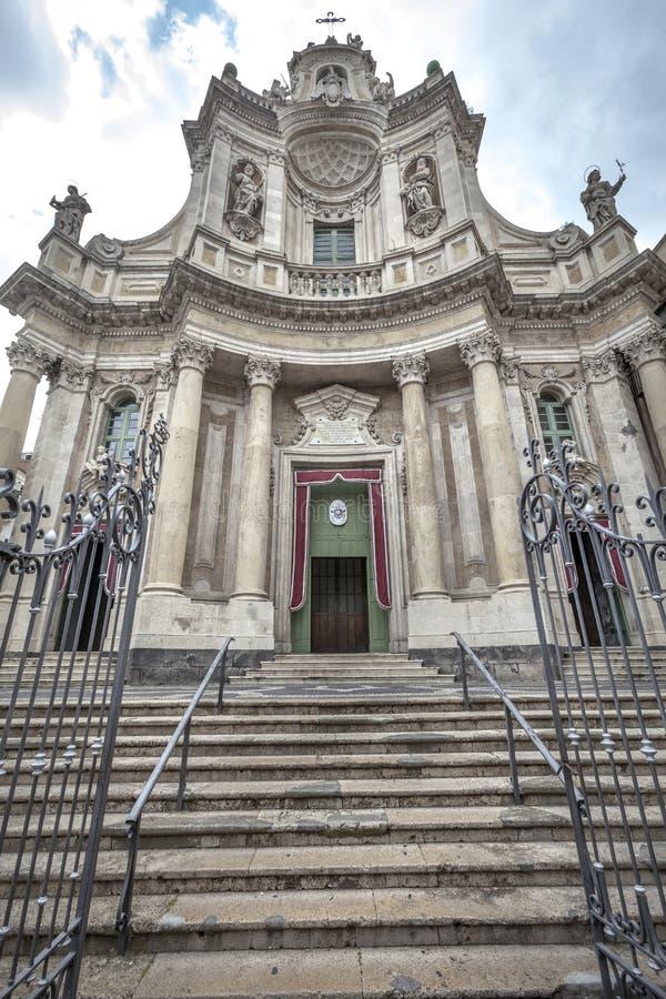 Le della Collegiata, Catane de basilique l'Italie photos libres de droits