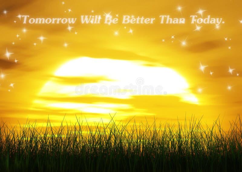 Le demain sera meilleur que citent aujourd'hui des mots illustration de vecteur