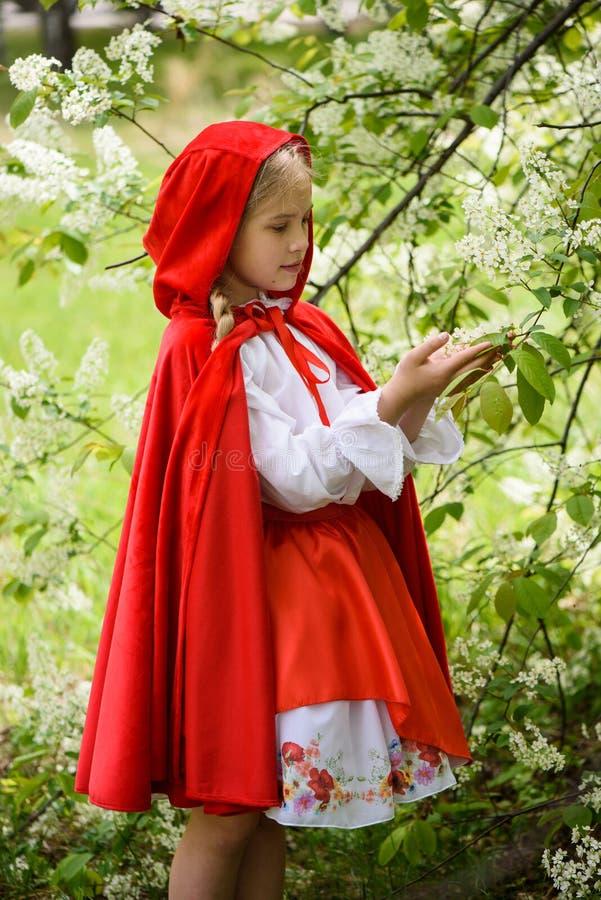 Le den blonda flickan som poserar i en klänning av near gröna träd för liten röd ridninghuv royaltyfria bilder