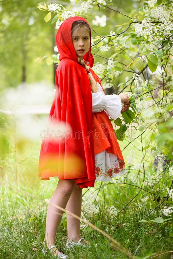 Le den blonda flickan som poserar i en klänning av near gröna träd för liten röd ridninghuv arkivbild