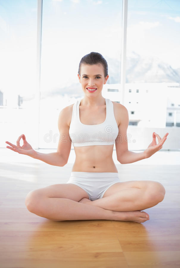 Le den bruna haired modellen för passform i sportswearen som mediterar i lotusblommaposition royaltyfri fotografi