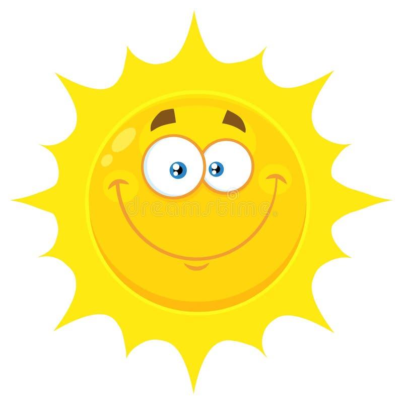 Le den gula soltecknade filmen Emoji vända mot teckenet med lyckligt uttryck vektor illustrationer