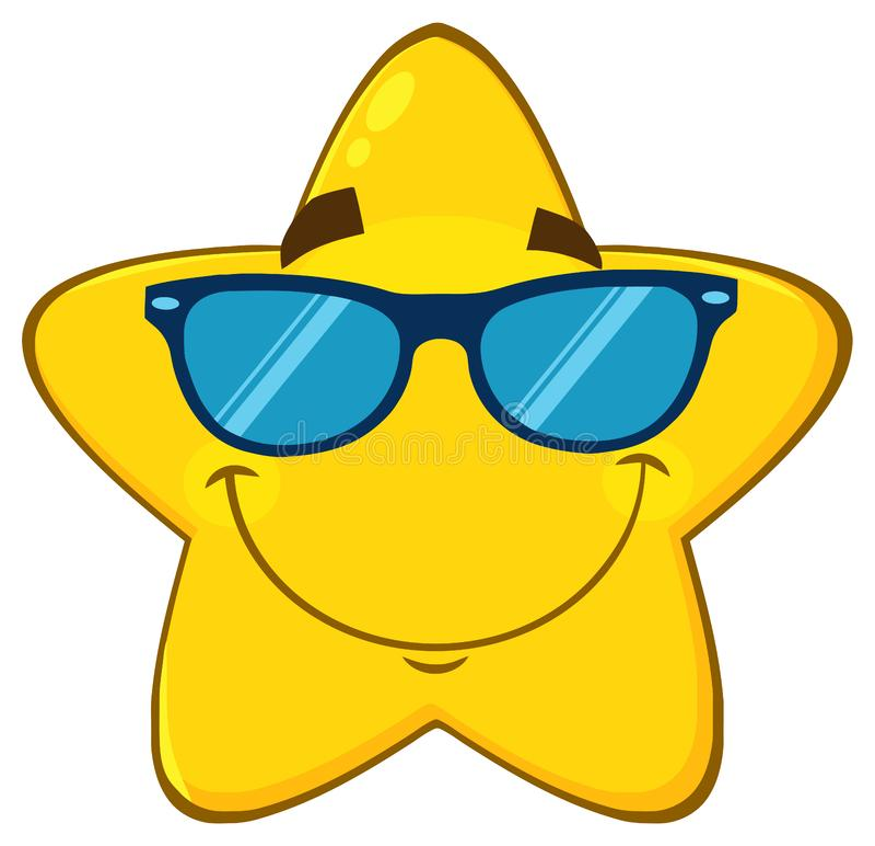 Le den gula stjärnatecknade filmen Emoji vända mot teckenet med solglasögon royaltyfri illustrationer