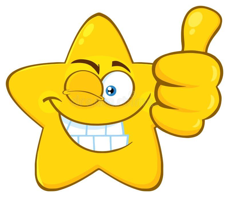 Le den gula stjärnatecknade filmen Emoji vända mot teckenet med Wink Expression Giving en tumme upp royaltyfri illustrationer