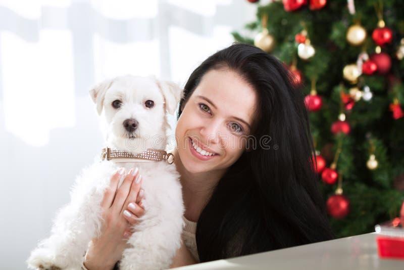 Le den gulliga flickan kramar hennes hund för julferie royaltyfria bilder