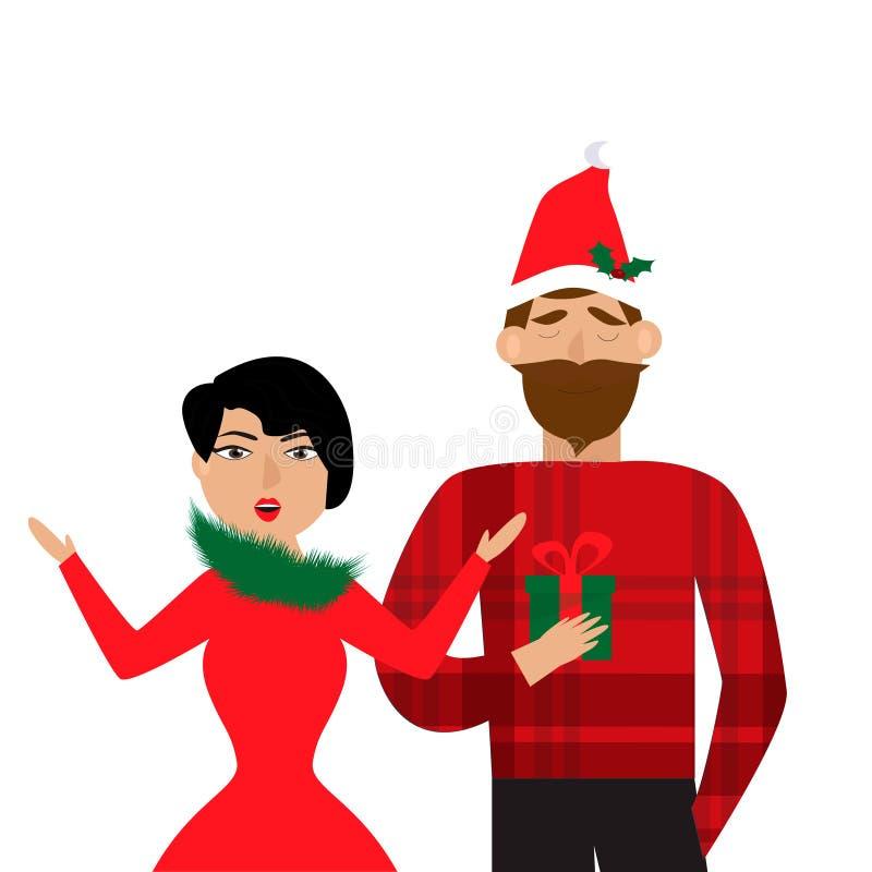 Le den hållande julgåvan för mannen i hand och near anseendet förvånade kvinnan Julfilial och klockor vektor illustrationer
