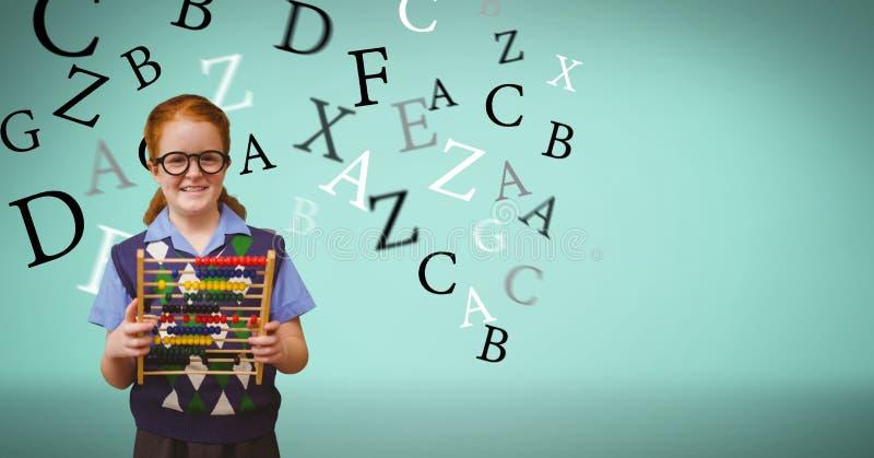 Le den hållande kulrammet för skolflicka medan bokstäver som flyger i bakgrund vektor illustrationer
