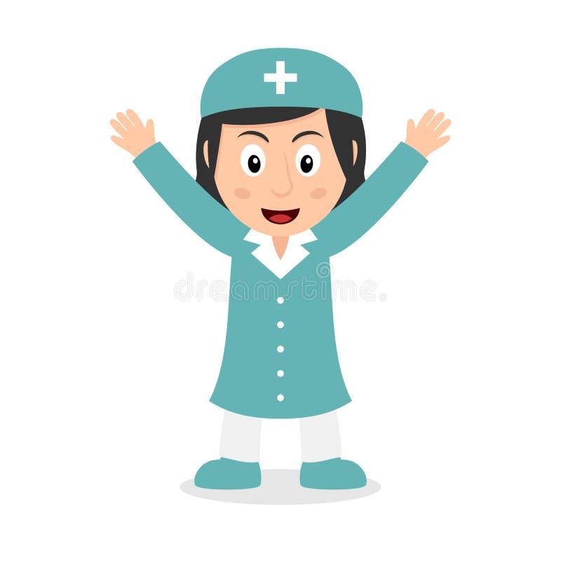 Le den kvinnliga sjuksköterskan Cartoon Character vektor illustrationer