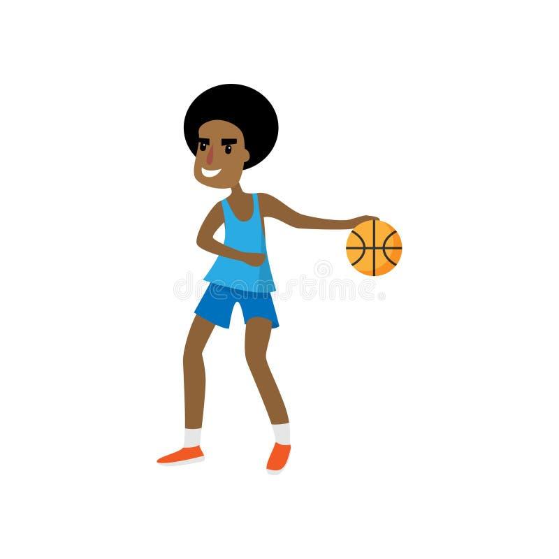 Le den lyckliga afrikanska basketspelaren som är klar för dribbling royaltyfri illustrationer