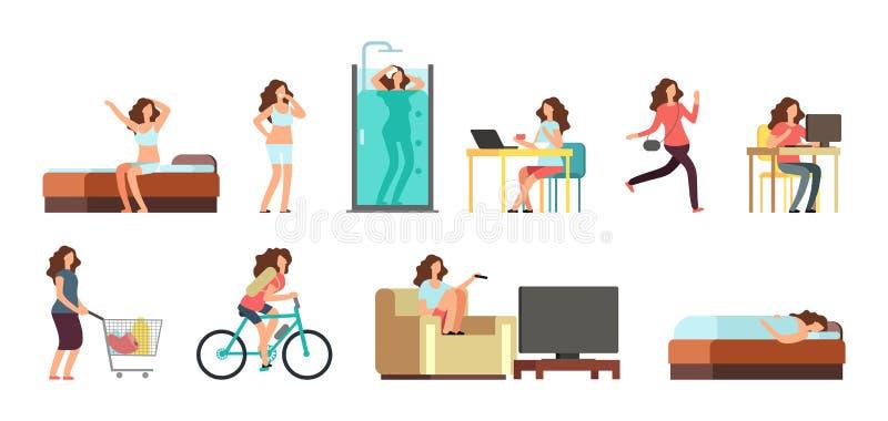 Le den lyckliga kvinnan i vardagsliv För vektortecknad film för aktiv flicka ställde normala dagliga rutinmässiga tecken in för l vektor illustrationer