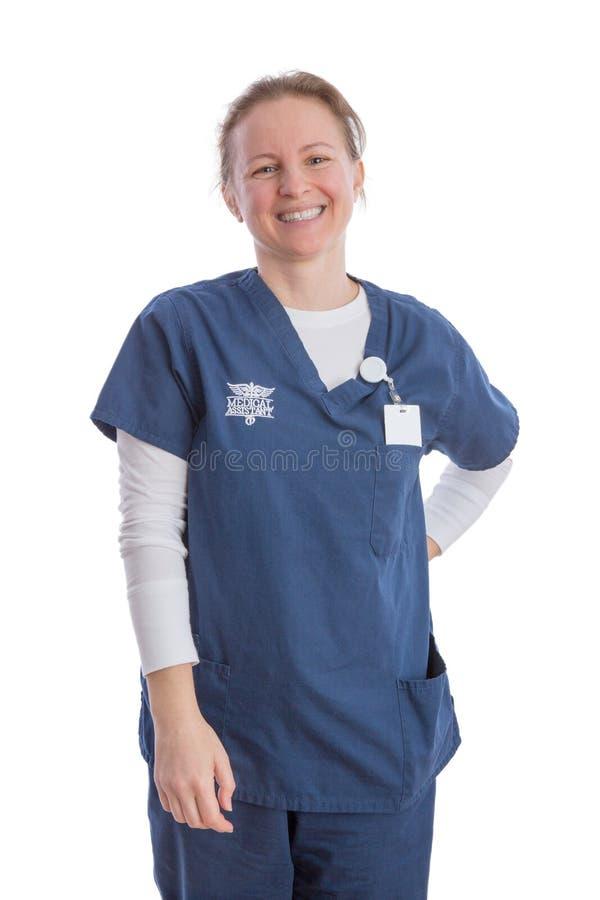 Le den lyckliga medicinska assistenten i likformig arkivbilder