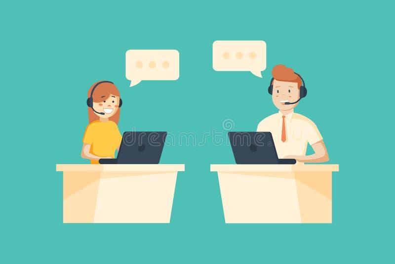 Le den manliga och kvinnliga operatören med hörlurar med mikrofon som arbetar på appellmitten royaltyfri illustrationer