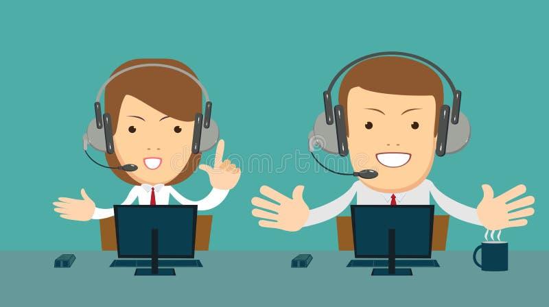 Le den manliga och kvinnliga operatören med hörlurar med mikrofon som arbetar på appellmitten vektor illustrationer