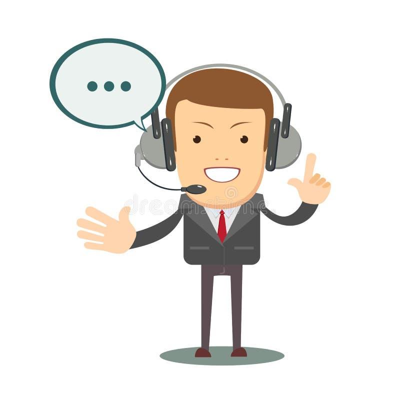 Le den manliga operatören med att tala för hörlurar med mikrofon Grungebakgrund för dina publikationer vektor illustrationer